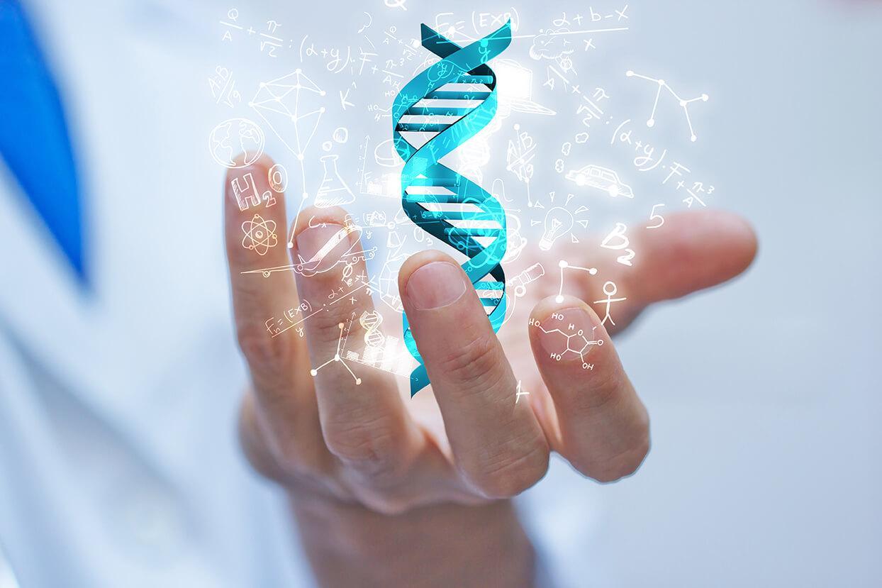 Mann mit imaginärer DNA in der Hand