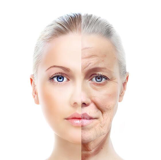 Portrait von Frau mit junger und gealterter Haut