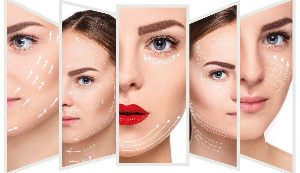 Frau mit eingezeichneten Linien im Gesicht