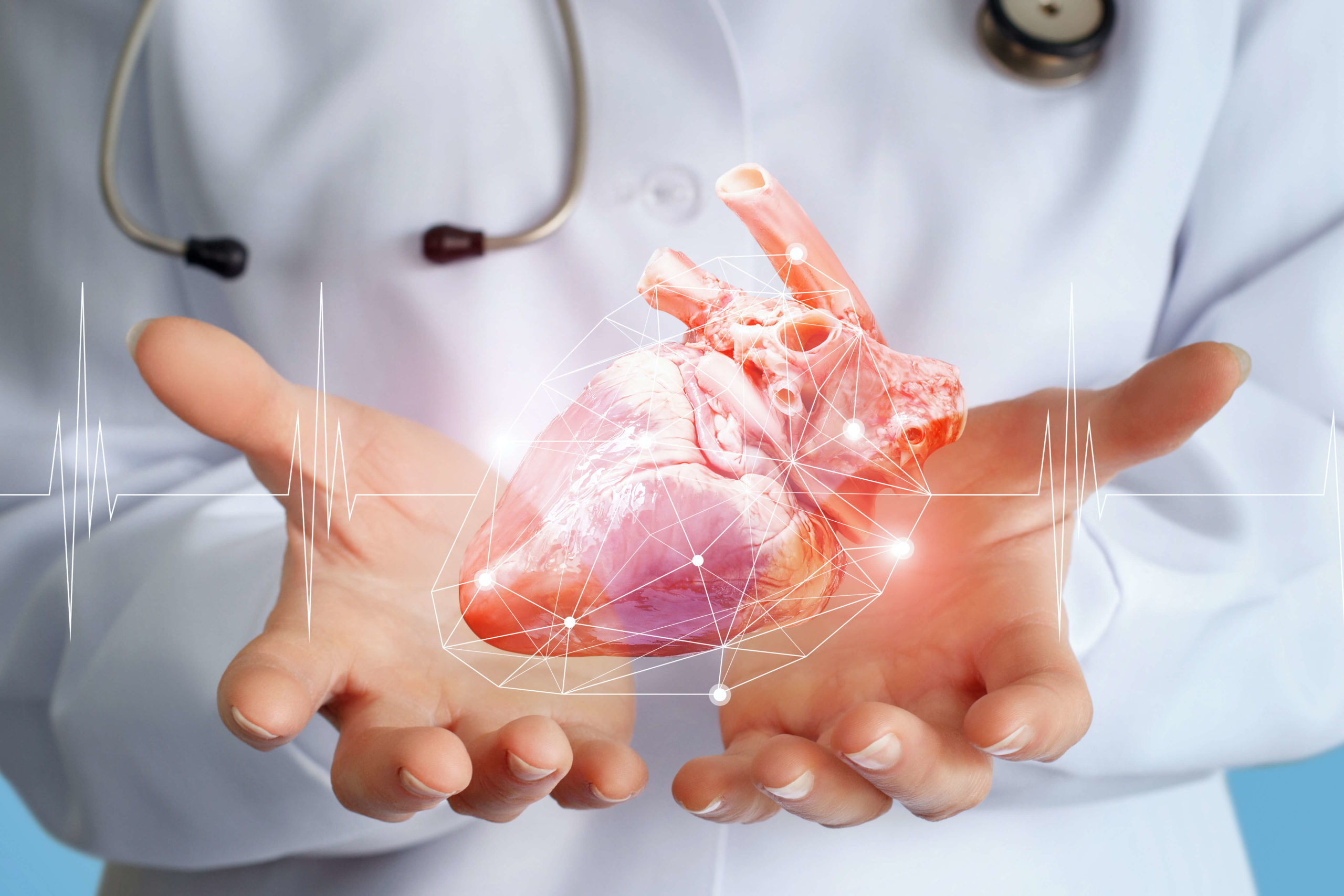 imaginär konstruiertes Herz in Männerhand